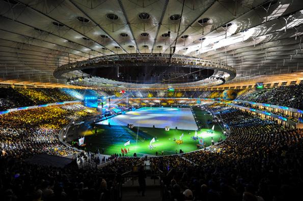 """Открытие обновленного стадиона НСК  """"Олимпийский """" знаменовалось товарищеской игрой Украина - Германия."""